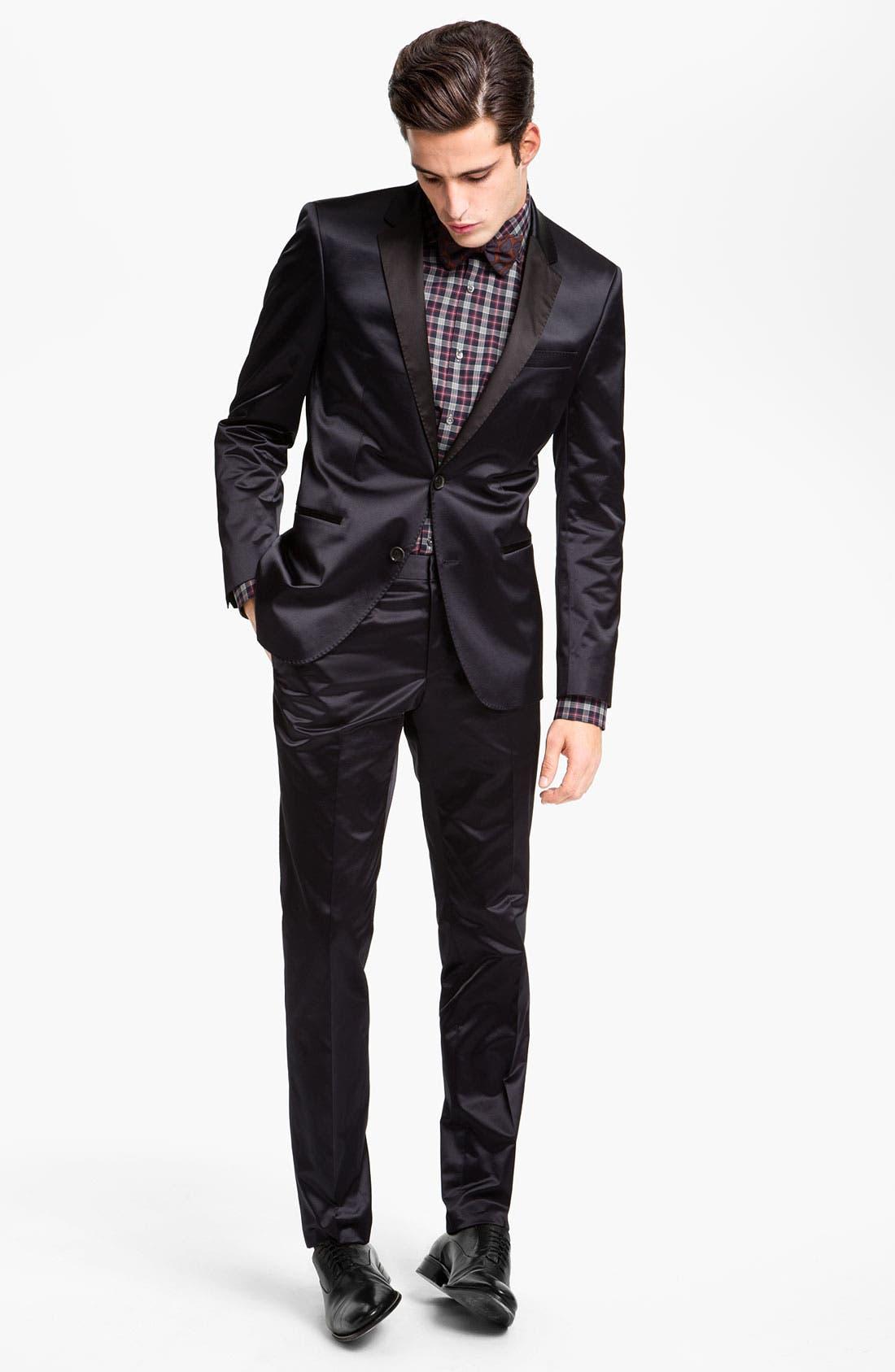 ,                             Black Slim Fit Dress Shirt,                             Alternate thumbnail 4, color,                             410