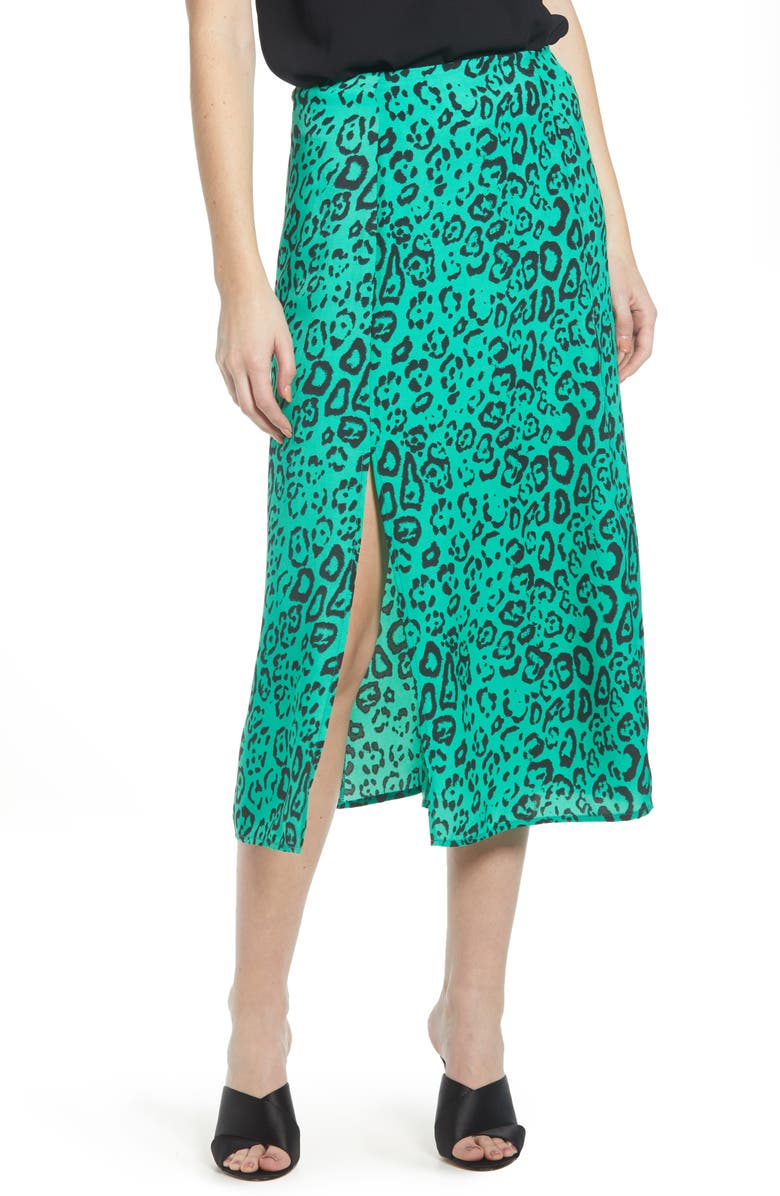 663dd9af26 Altamont Front Slit Midi Skirt, Main, color, GREEN LEOPARD PRINT