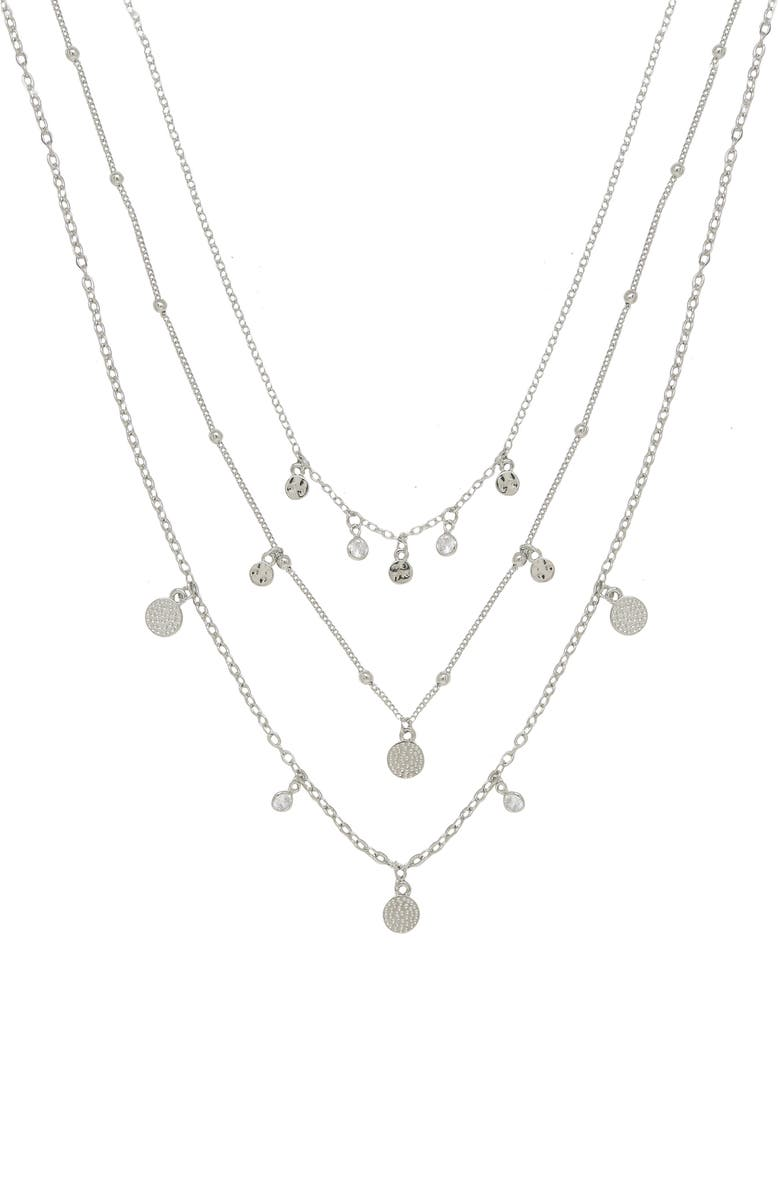ETTIKA Multistrand Necklace, Main, color, SILVER