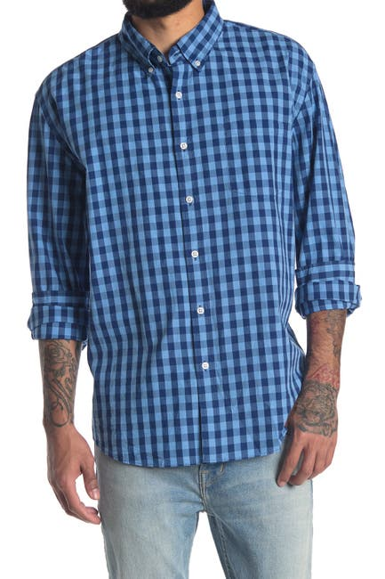 Image of J. Crew Factory Washed Plaid Print Long Sleeve Slim Fit Shirt