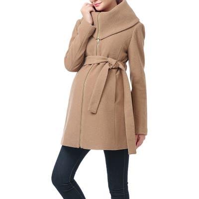 Kimi And Kai Mia High Collar Wool Blend Maternity Coat, Beige