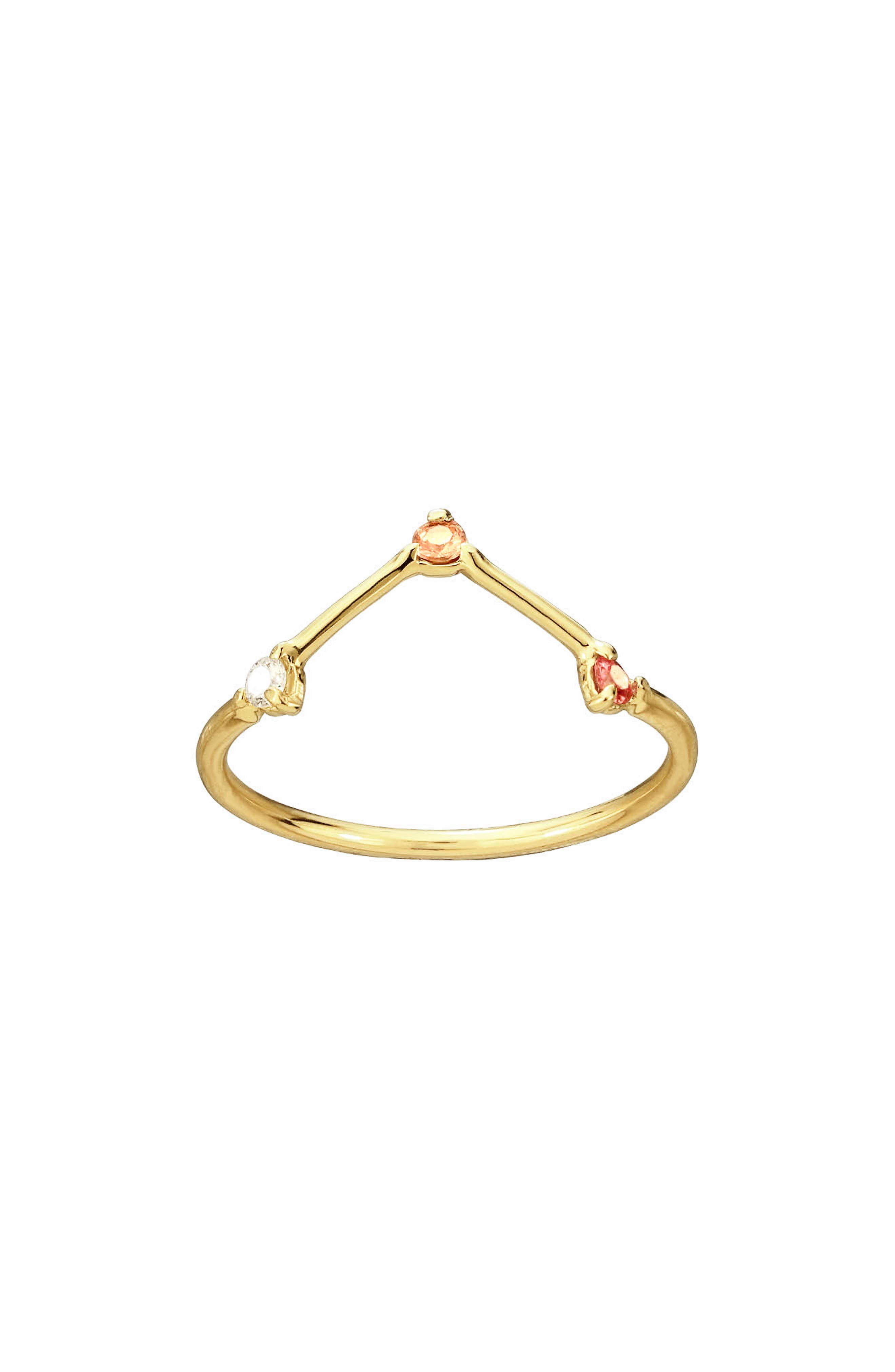 Counting Collection Three-Step Triangle Sapphire & Diamond Ring, Main, color, PINK TOURMALINE WHITE DIAMOND