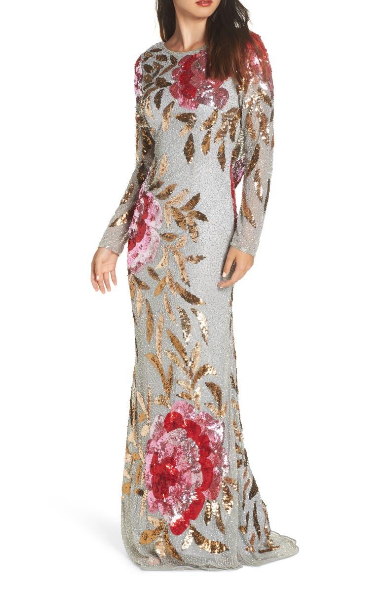 MAC DUGGAL Long Sleeve Sequin Column Gown, Main, color, PLATINUM