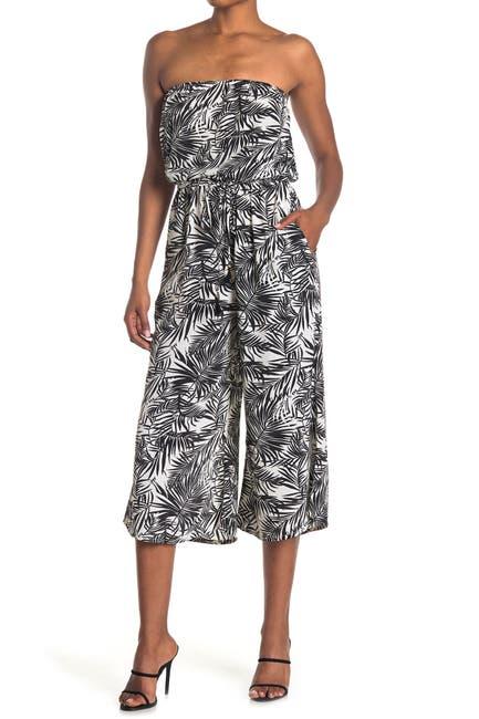 Image of ELAN Strapless Wide Leg Printed Jumpsuit