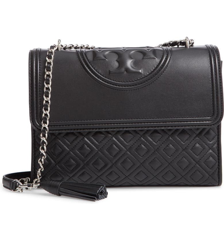 TORY BURCH Fleming Quilted Lambskin Leather Convertible Shoulder Bag, Main, color, BLACK / SILVER