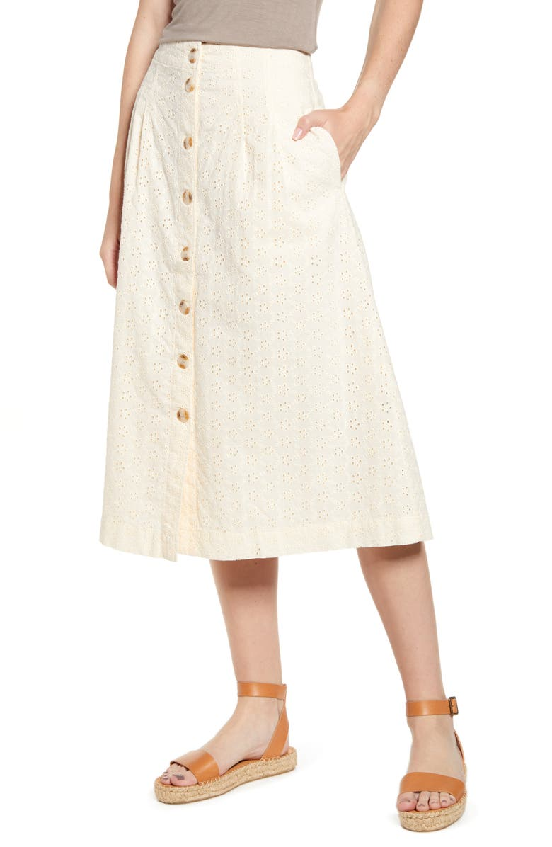 MADEWELL Eyelet Patio Button Front Midi Skirt, Main, color, PEARL IVORY