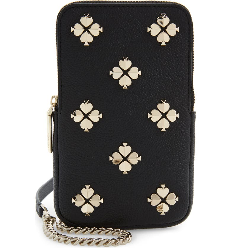 KATE SPADE NEW YORK margaux leather phone crossbody bag, Main, color, 001
