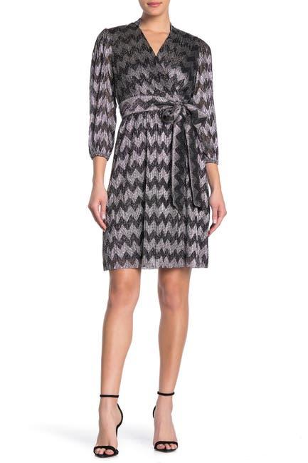 Image of Eliza J Metallic Chevron Faux Wrap Dress
