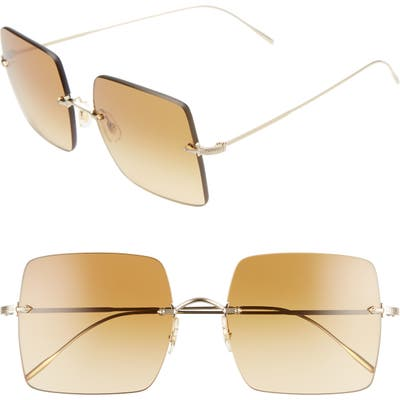 Oliver Peoples Oishe 57Mm Gradient Rimless Square Sunglasses - Gold/ Amberg Gradient Brown