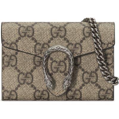 Gucci Dionysus Gg Supreme Canvas Coin Purse On A Chain - Beige