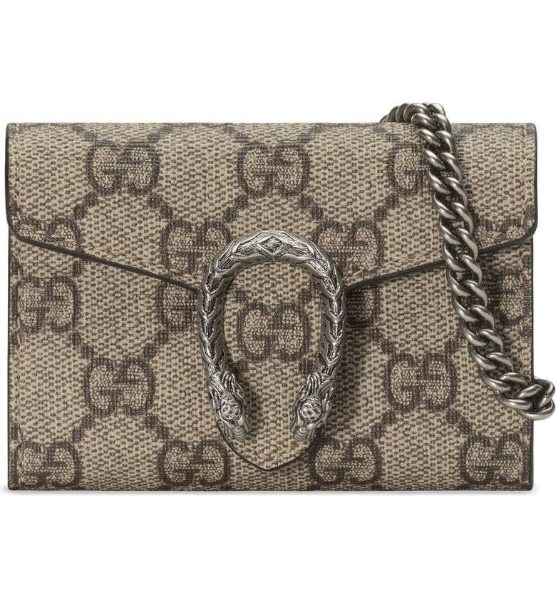 8b0e7d050469 Dionysus GG Supreme Canvas Coin Purse on a Chain, Main, color, BEIGE EBONY