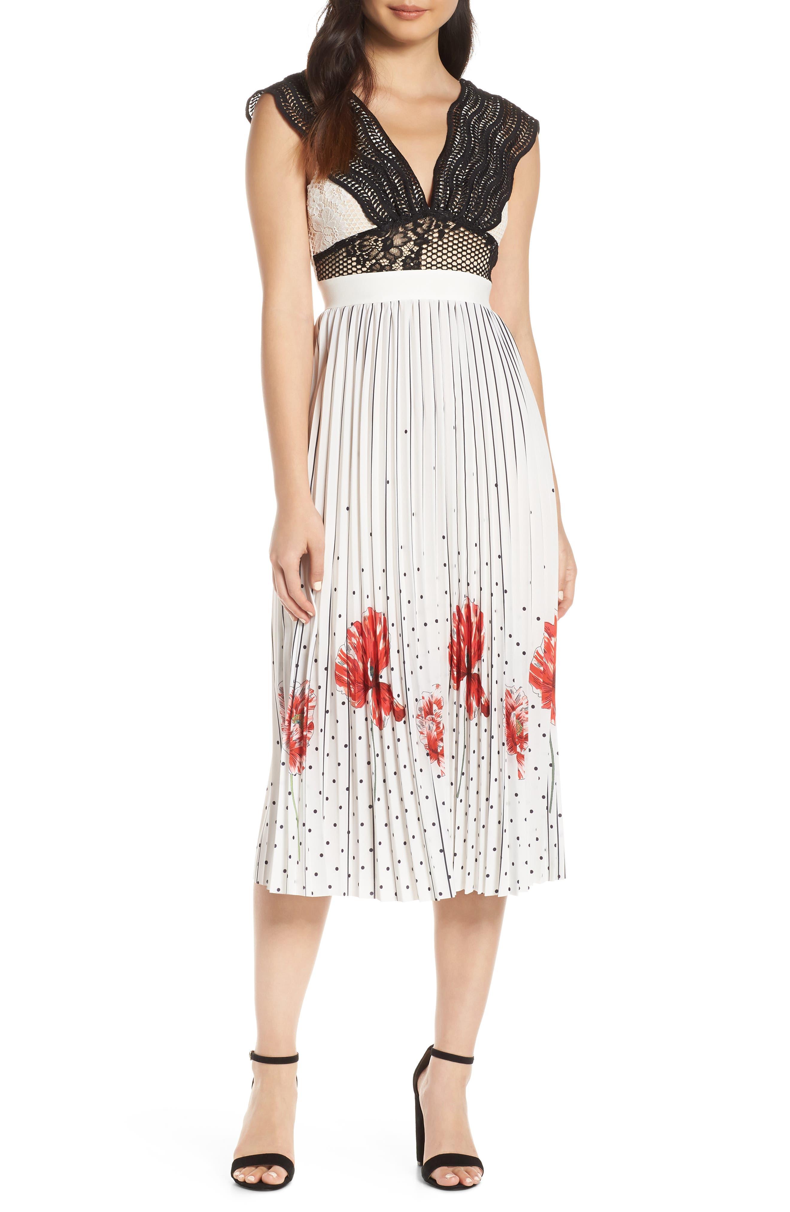 Foxiedox Hera Pleat Midi Dress, Ivory