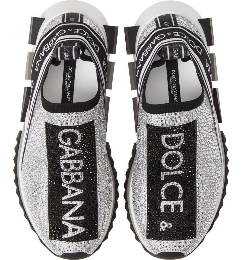 DOLCE&GABBANA Sorrento Jeweled Logo Sneaker, Main, color, WHITE/ SILVER