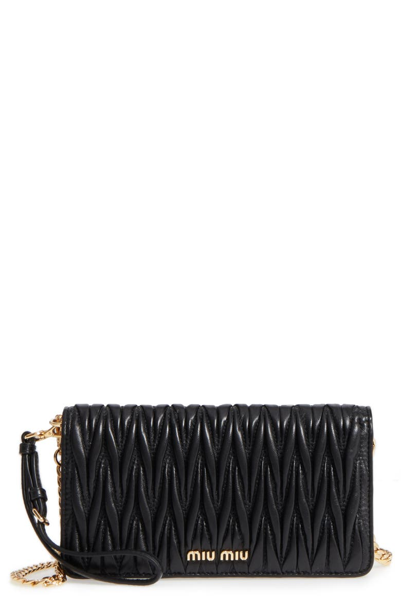MIU MIU Matelassé Leather Wallet on a Chain, Main, color, 001