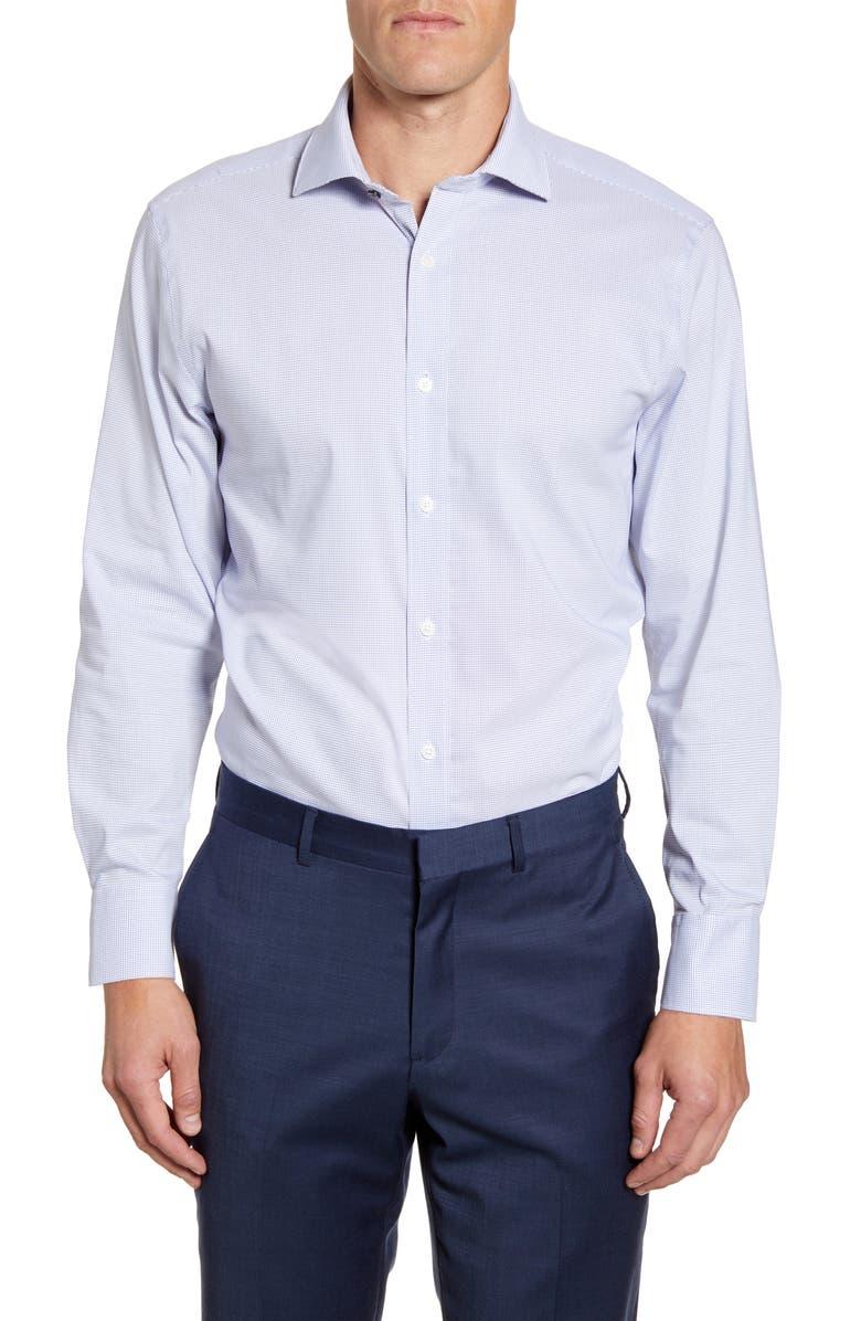 PSYCHO BUNNY Trim Fit Stretch Cotton Blend Dress Shirt, Main, color, TURQUOISE