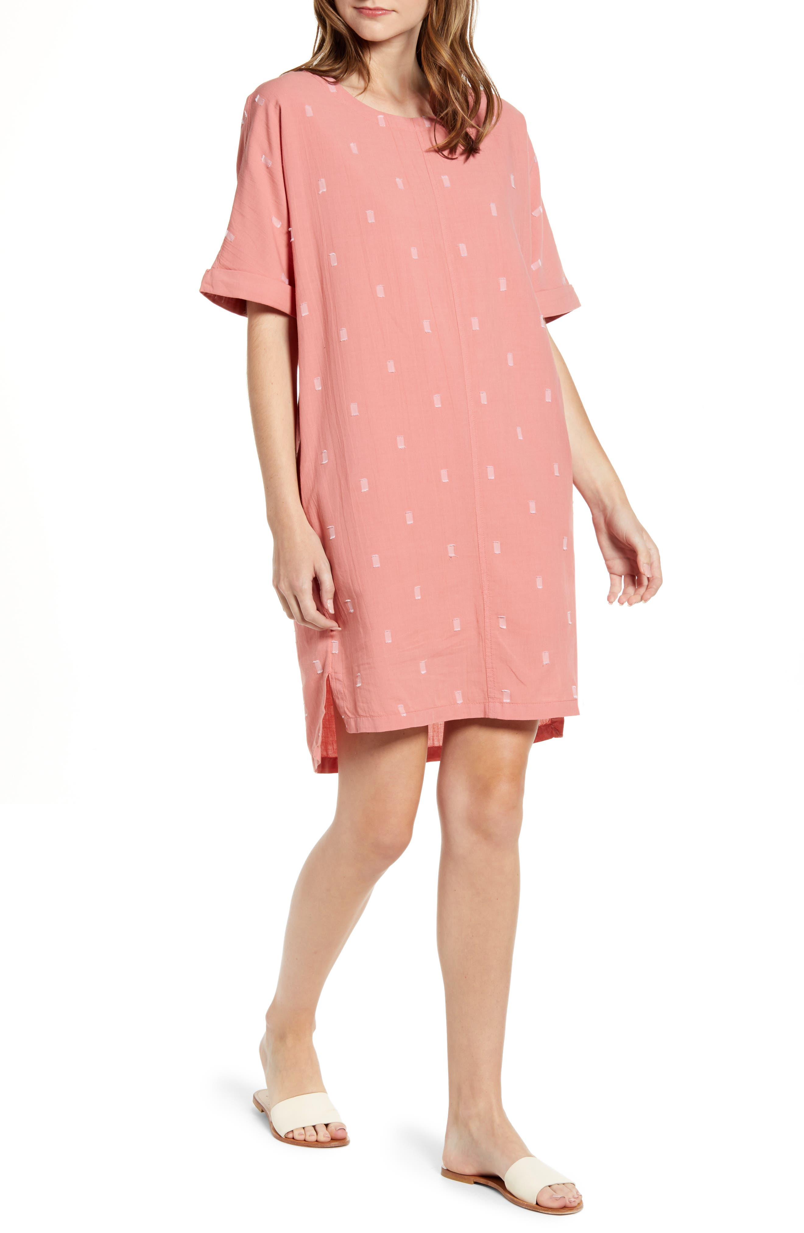 Caslon Jacquard Shift Dress, Pink