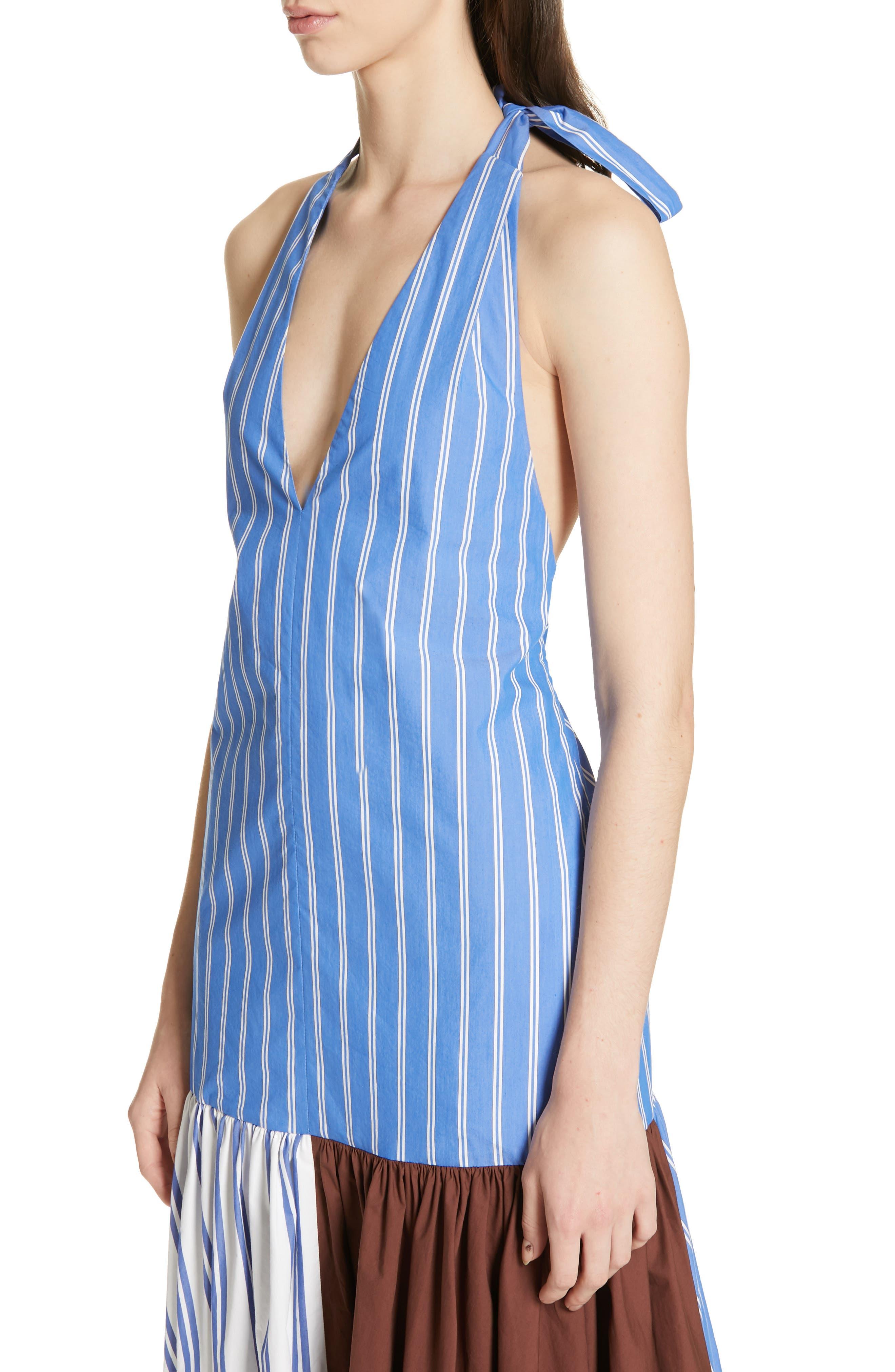 ,                             Vivian Stripe Halter Midi Dress,                             Alternate thumbnail 4, color,                             BLUE/ WHITE STRIPE MULTI
