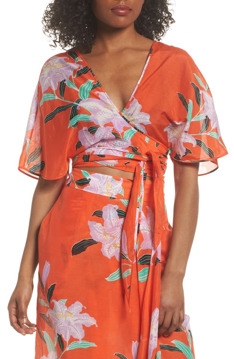 DIANE VON FURSTENBERG Wrap Cover-Up Top, Main, color, 802
