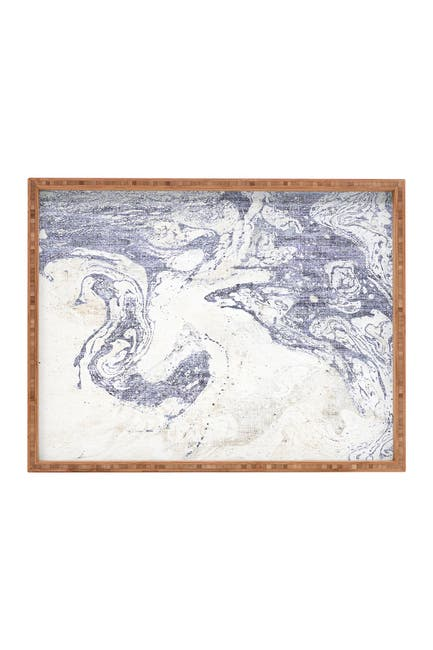 Image of Deny Designs Holli Zollinger French Linen Marble Rectangular Bamboo Tray