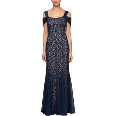 Alex Evenings Cold Shoulder Fit & Flare Evening Gown, Blue