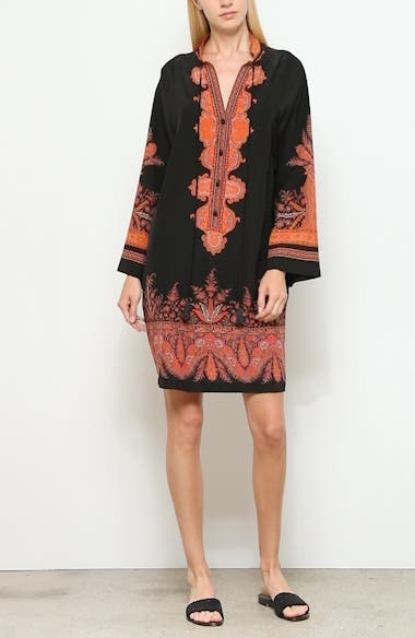 Signature Paisley Long Sleeve Silk Dress, video thumbnail