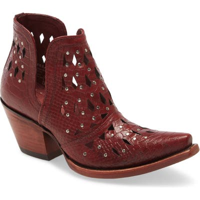 Ariat Dixon Perforated Studded Bootie, Red