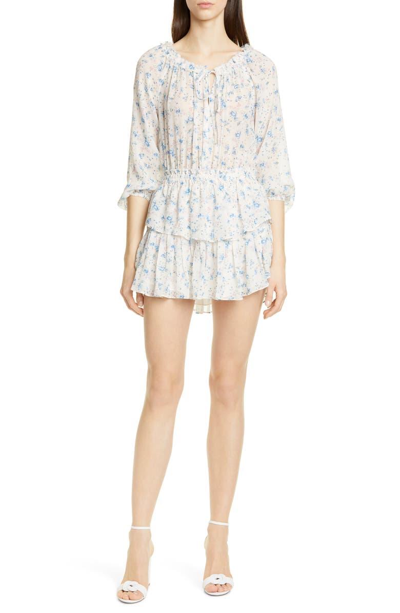 LOVESHACKFANCY Floral Silk Asymmetrical Popover Minidress, Main, color, PEARL RIVER