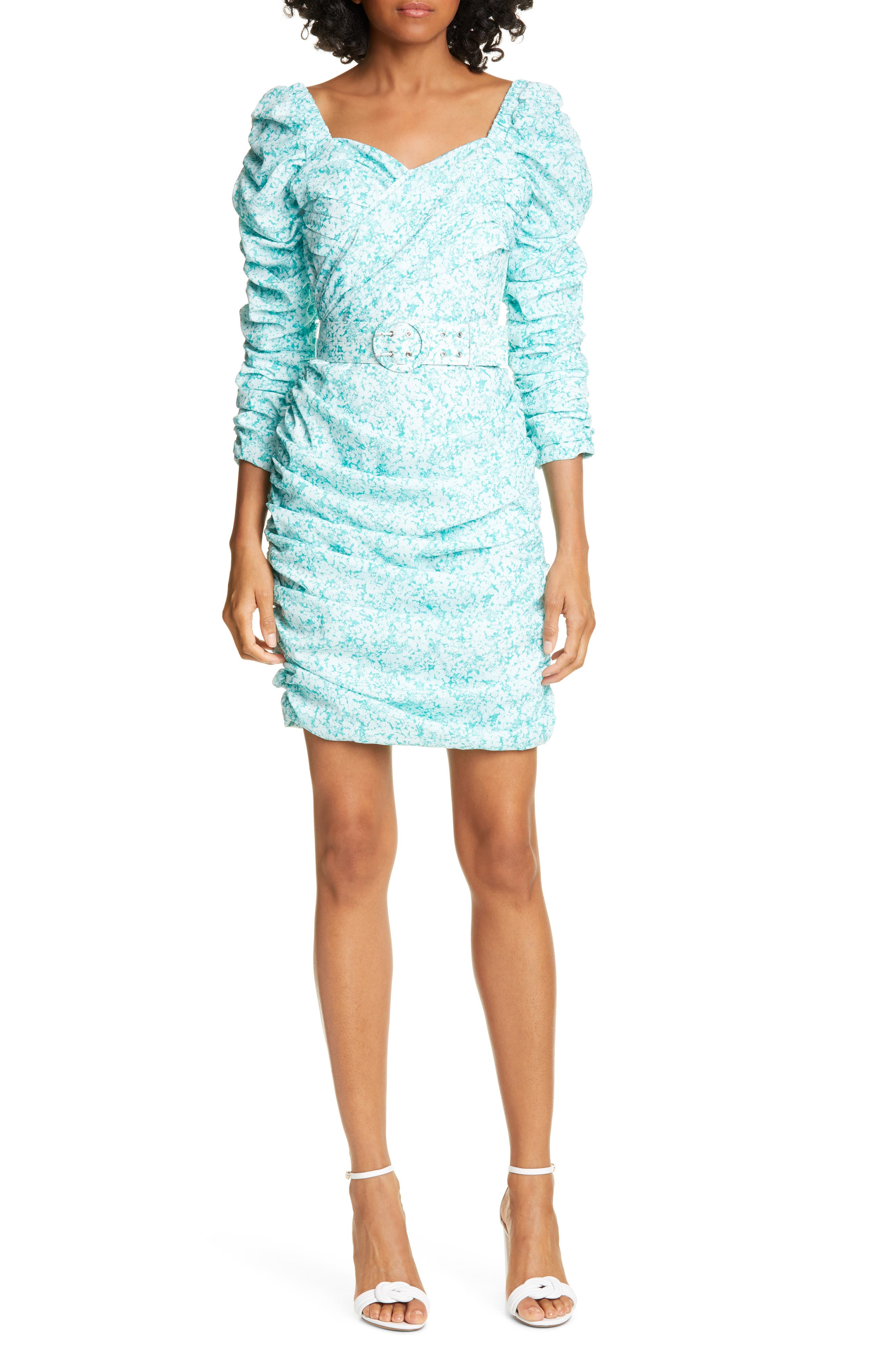 Nicholas Ruched Puff Sleeve Minidress, Blue