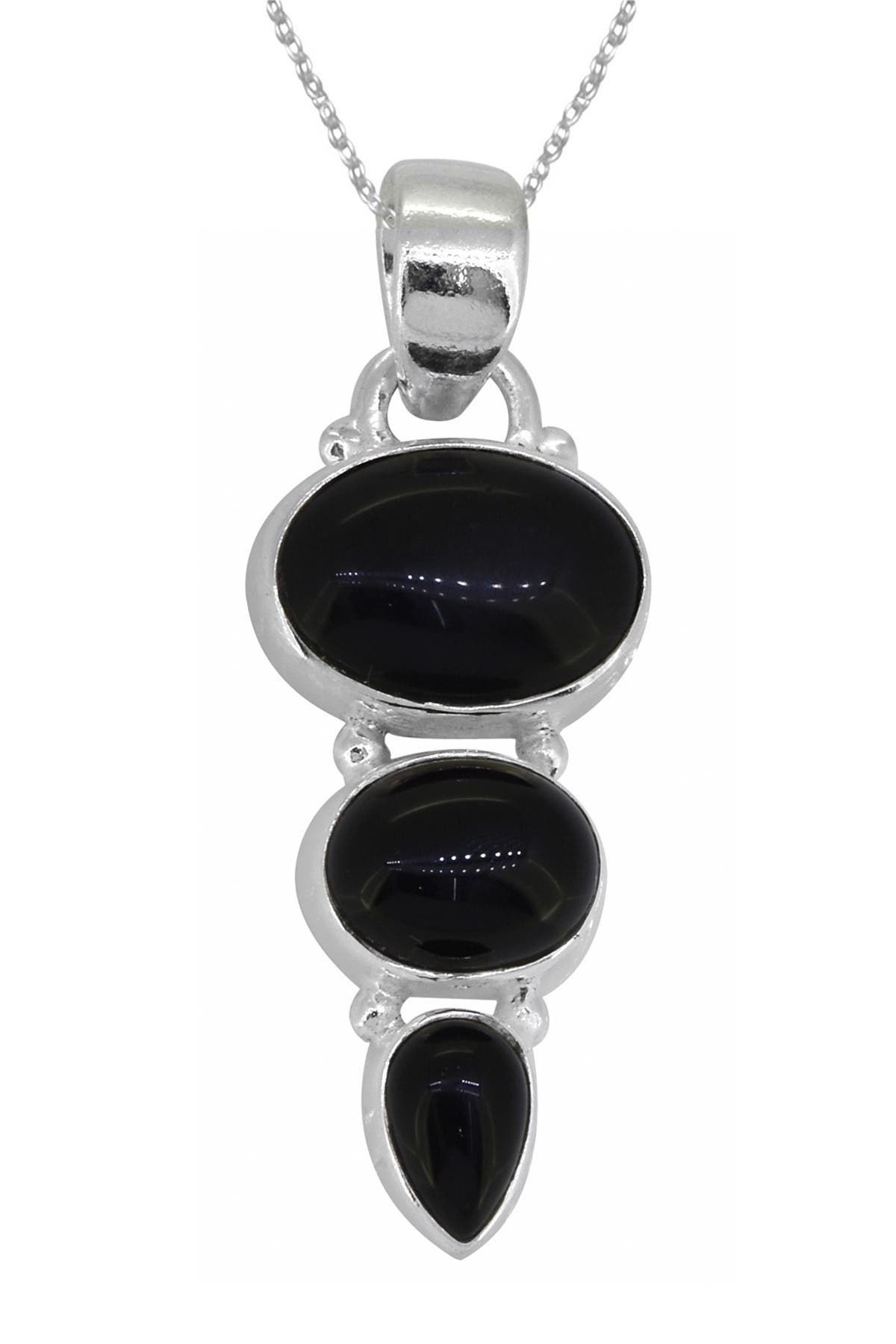 """Image of Nitya 3 Black Onyx Sterling Silver Pendant with 18"""" Chain"""
