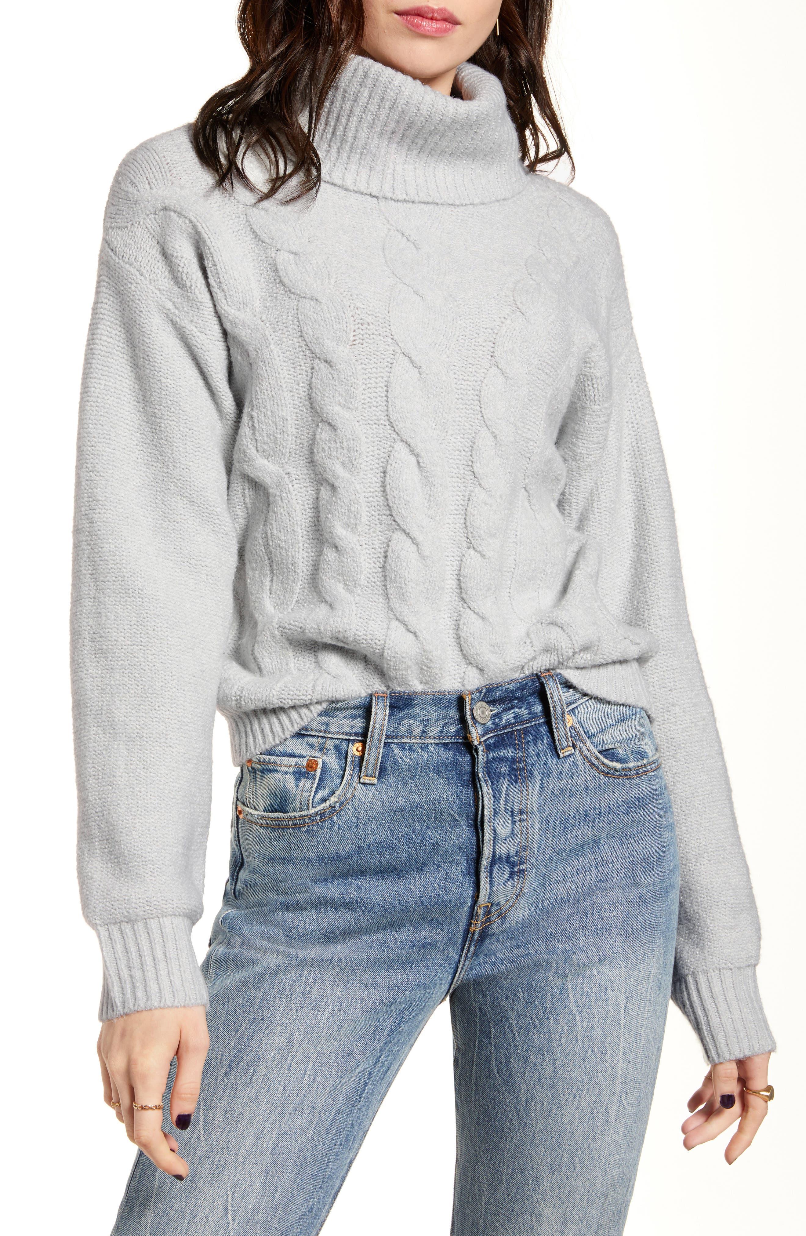 BP. Cable Stitch Turtleneck Sweater