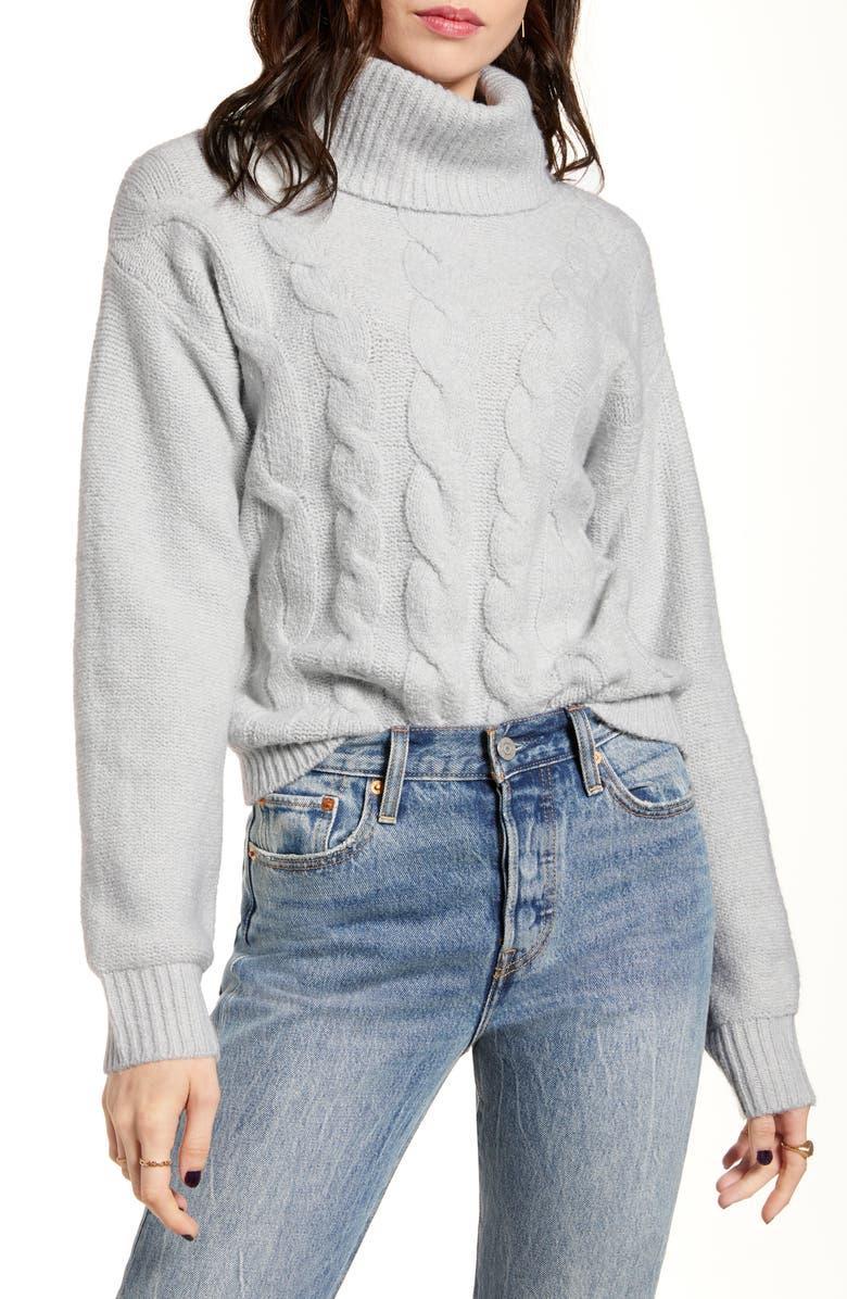 BP. Cable Stitch Turtleneck Sweater, Main, color, GREY QUIET HEATHER