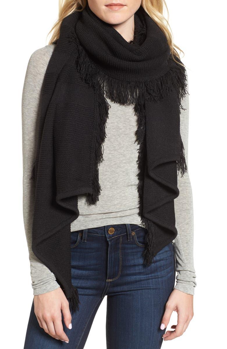 REBECCA MINKOFF Garter Stripe Stitch Blanket Scarf, Main, color, 001