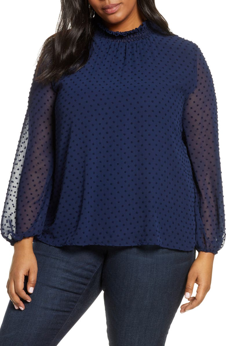 GIBSON Victorian Smock Neck Swiss Dot Blouse, Main, color, NAVY