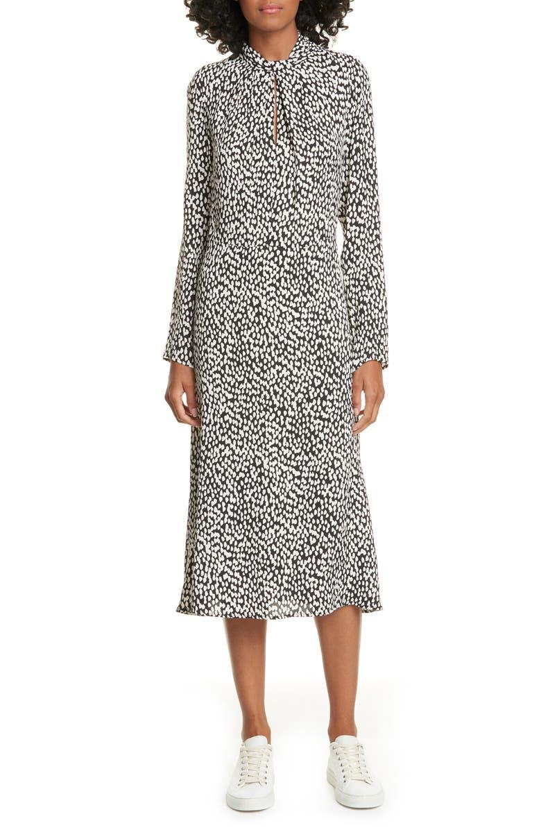 JUDITH & CHARLES Rimini Twist Keyhole Long Sleeve Midi Dress, Main, color, BLACK/ VANILLA
