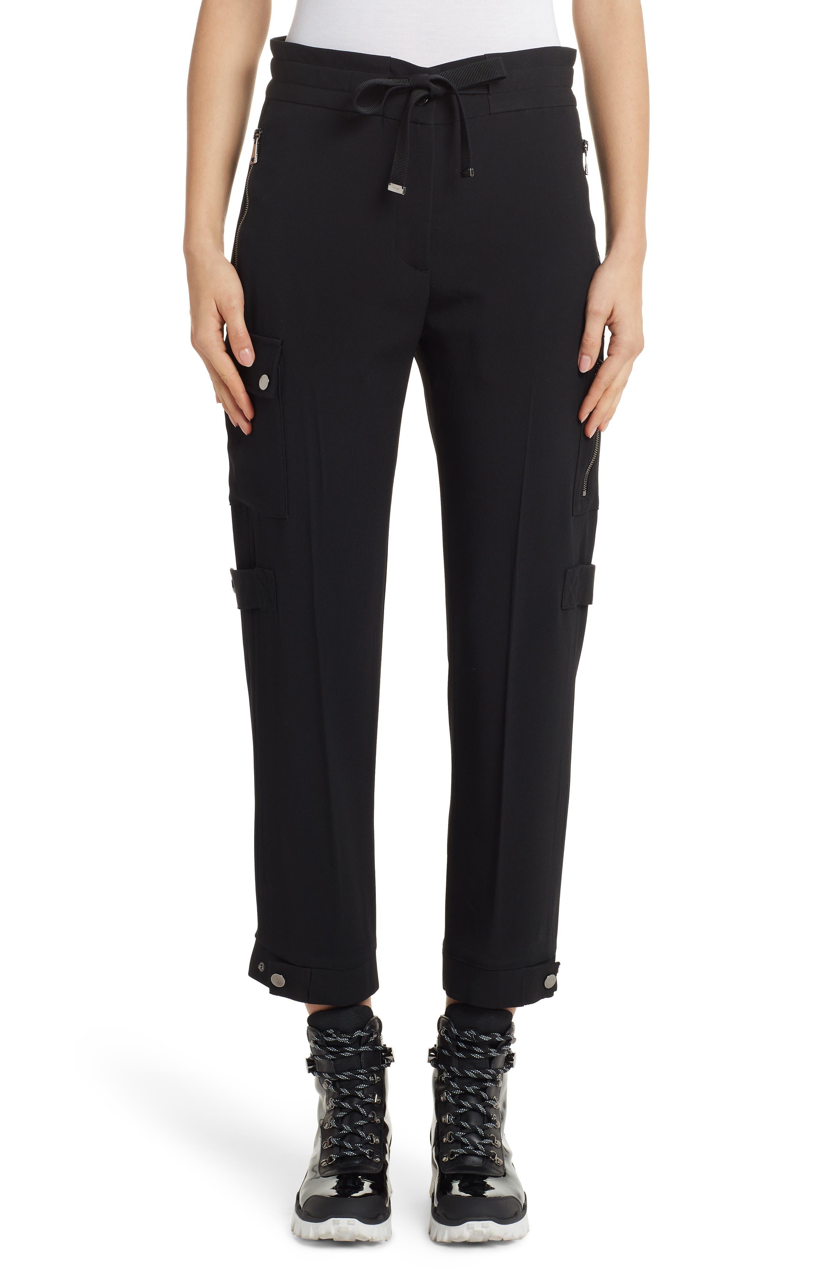 Moncler Tie Waist Cargo Pants, US / 40 IT - Black