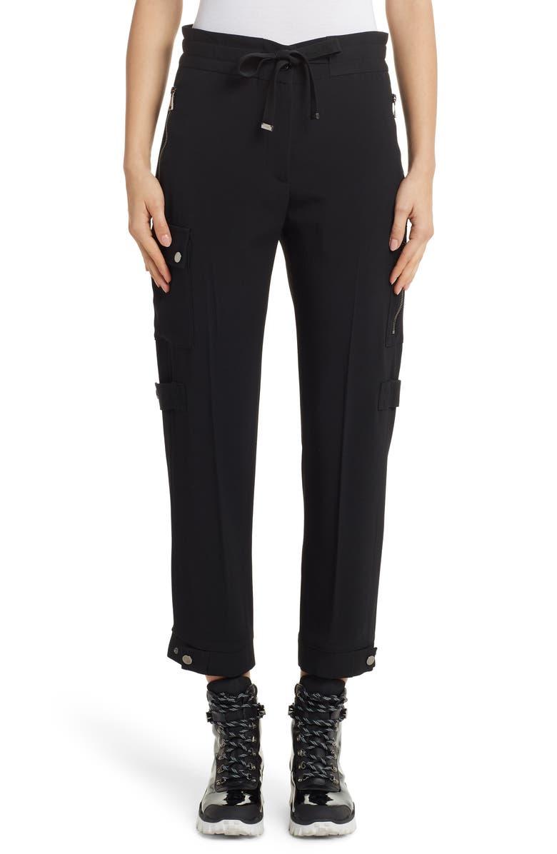 MONCLER Tie Waist Cargo Pants, Main, color, BLACK