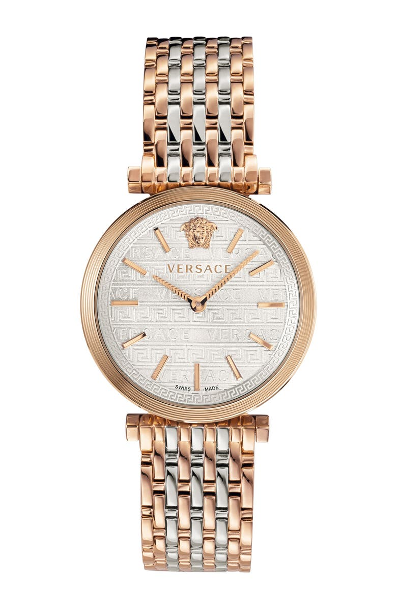VERSACE V Twist Bracelet Watch, 36mm, Main, color, ROSE GOLD/ SILVER/ ROSE GOLD