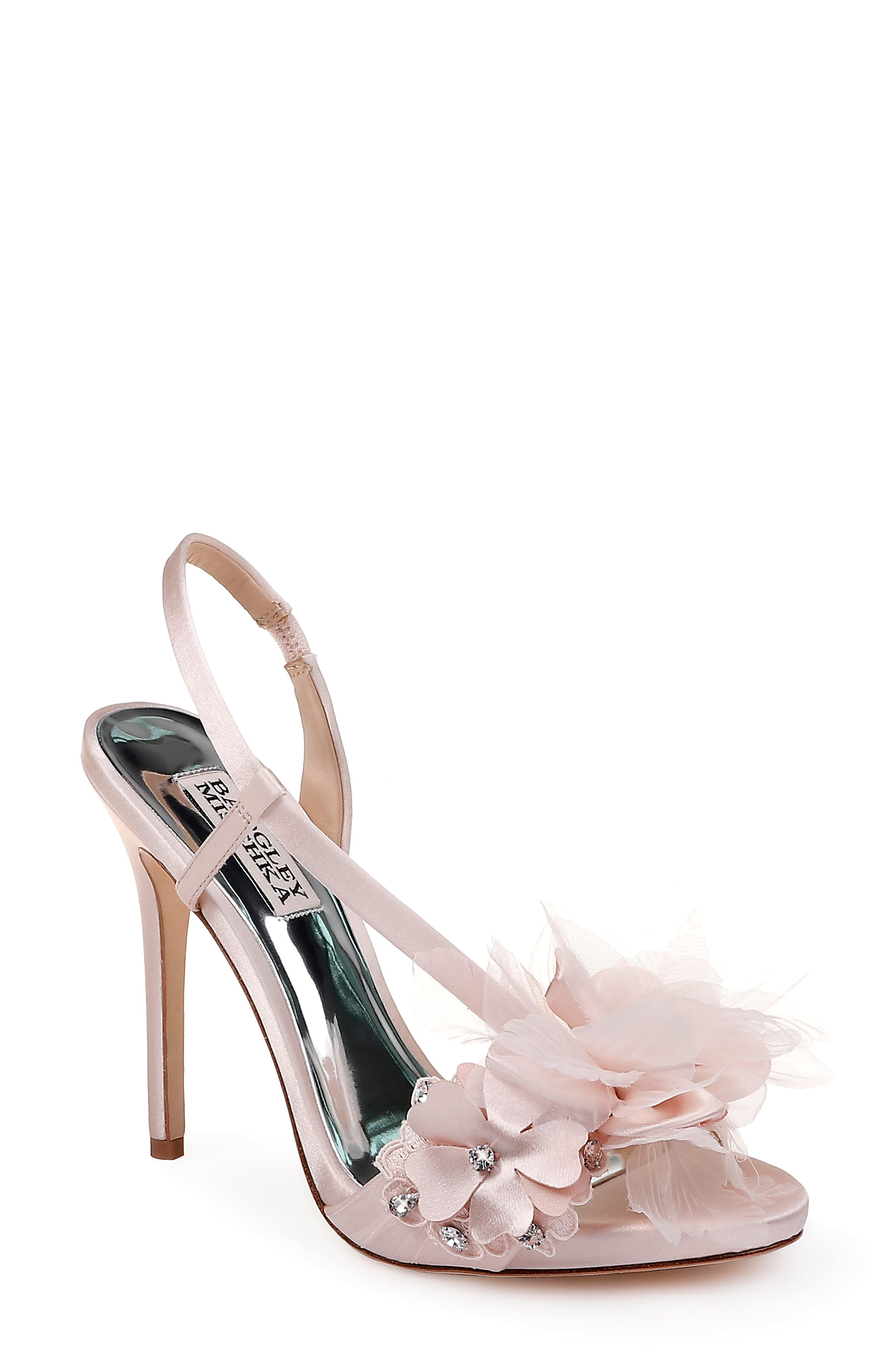 ,                             Badgley Mischka Forever Flower Sandal,                             Main thumbnail 1, color,                             LIGHT PINK SATIN