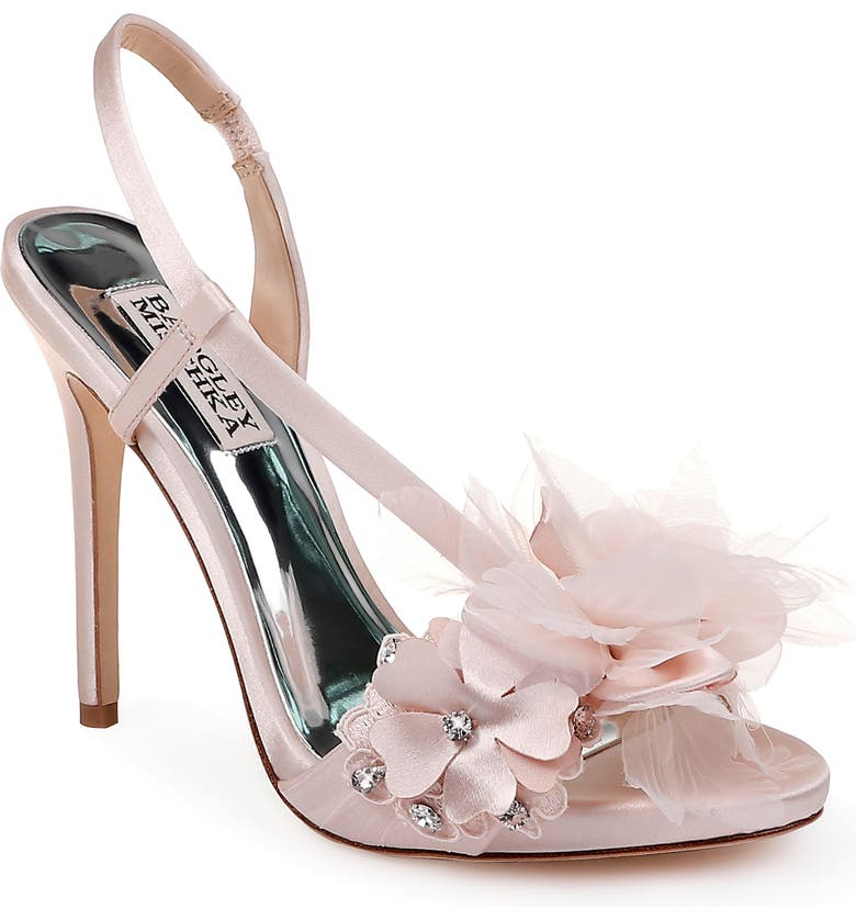 BADGLEY MISCHKA COLLECTION Badgley Mischka Forever Flower Sandal, Main, color, LIGHT PINK SATIN