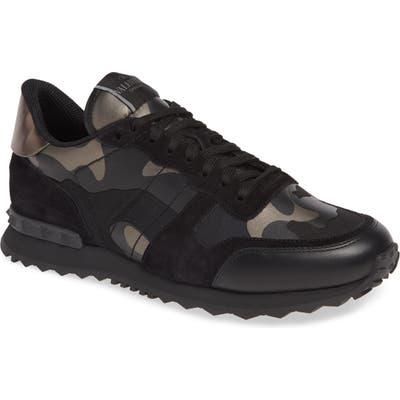 Valentino Garavani Camo Rockrunner Sneaker, Black