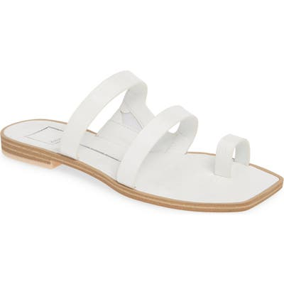 Dolce Vita Isala 3 Croc Textured Slide Sandal- White