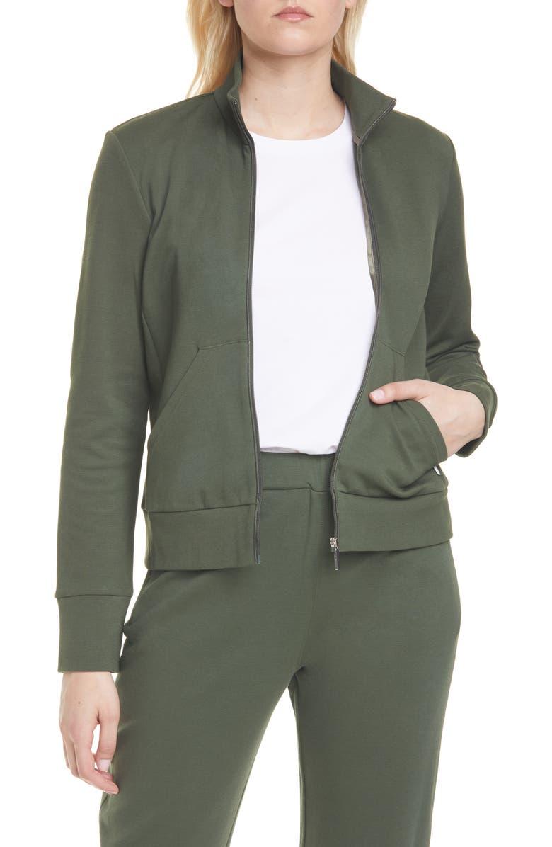 MAX MARA LEISURE Zip Front Cotton Blend Jacket, Main, color, 300