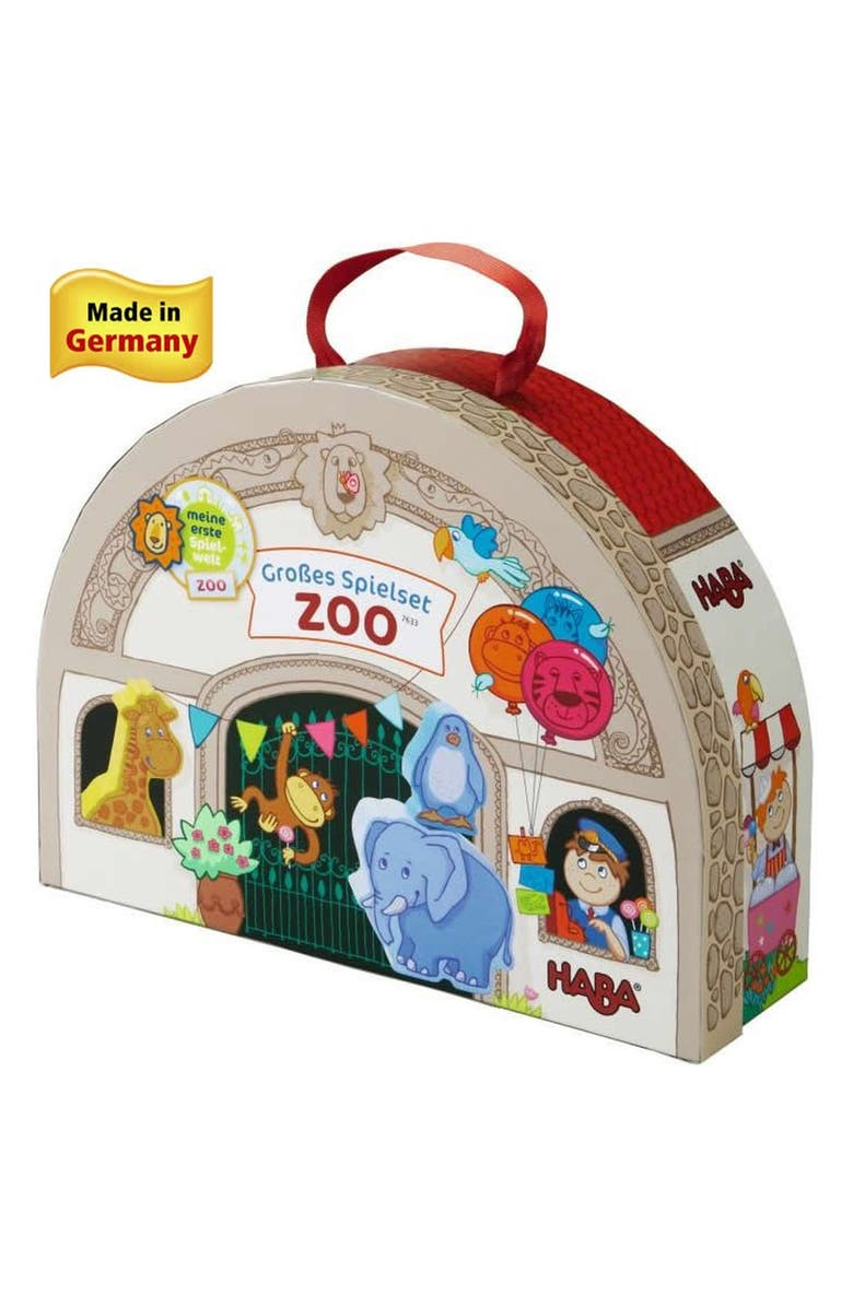 HABA At the Zoo Portable Wooden Play Set, Main, color, RED/ BROWN AND GREEN