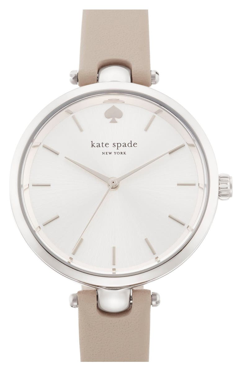 KATE SPADE NEW YORK 'holland' round watch, 34mm, Main, color, CLOCKTOWER GREY/ SILVER