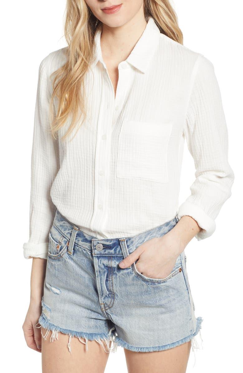 SOCIALITE Gauze Shirt, Main, color, WHITE