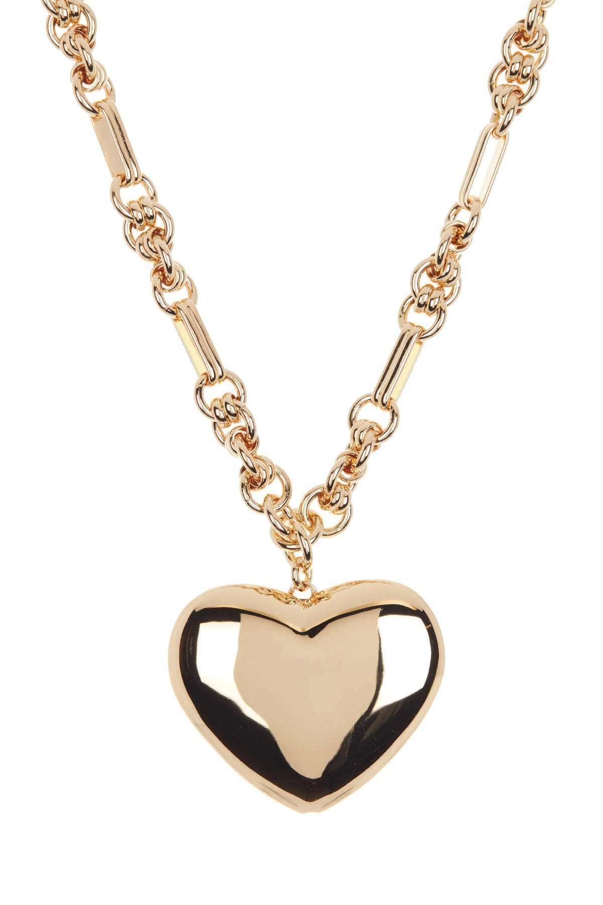 Image of Rebecca Minkoff Puffy Metal Heart Pendant Necklace