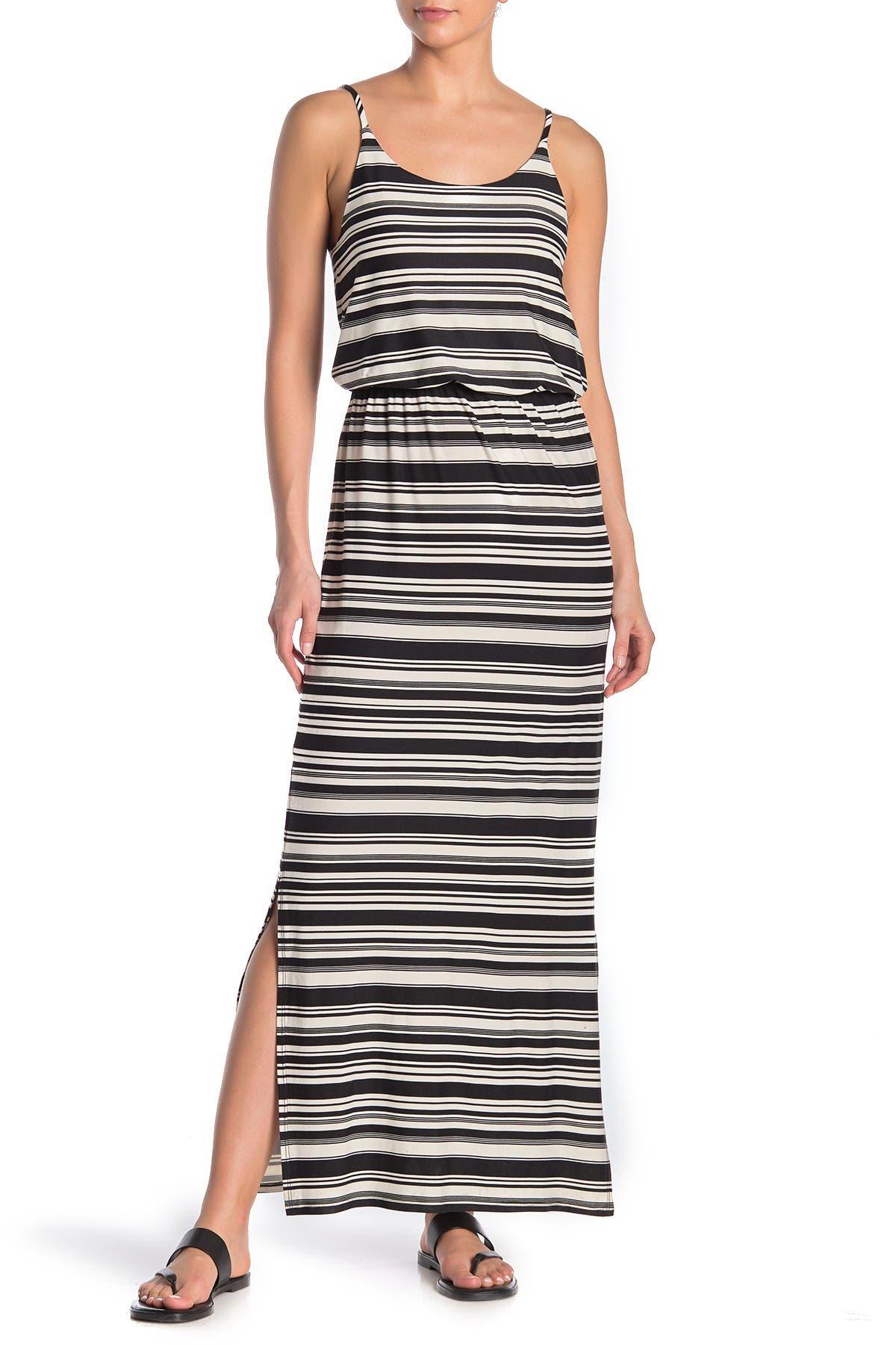 Image of Nina Leonard Sleeveless Striped Maxi Dress