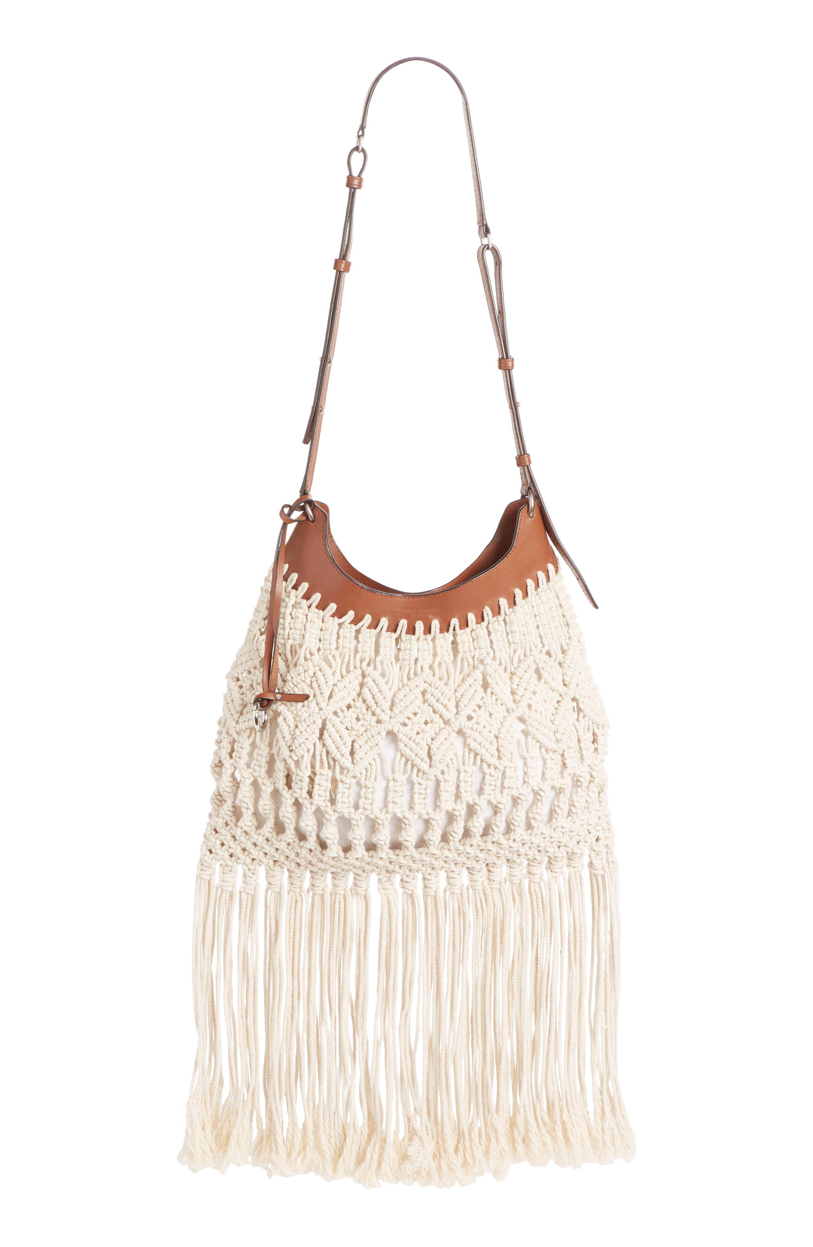 Teomia Macramé Shoulder Bag, Main, color, ECRU