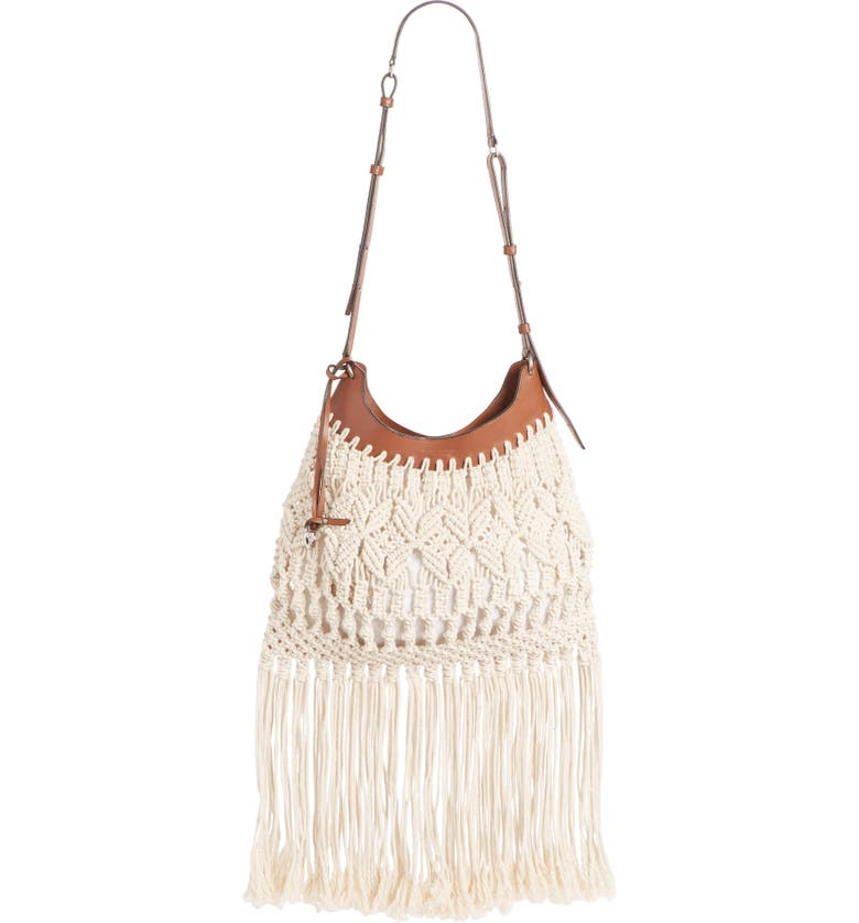 ISABEL MARANT Teomia Macramé Shoulder Bag, Main, color, 900