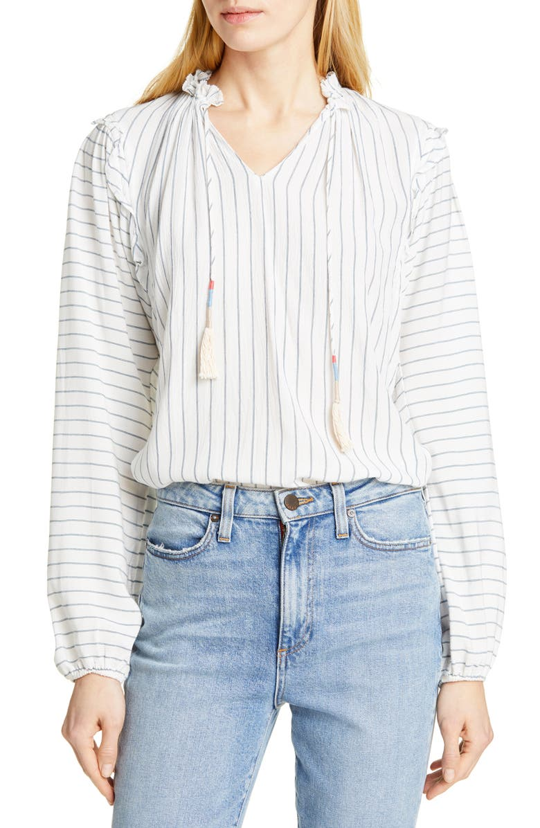 DOLAN Rhonda Tassel Tie Stripe Blouse, Main, color, BIG SUR STRIPE
